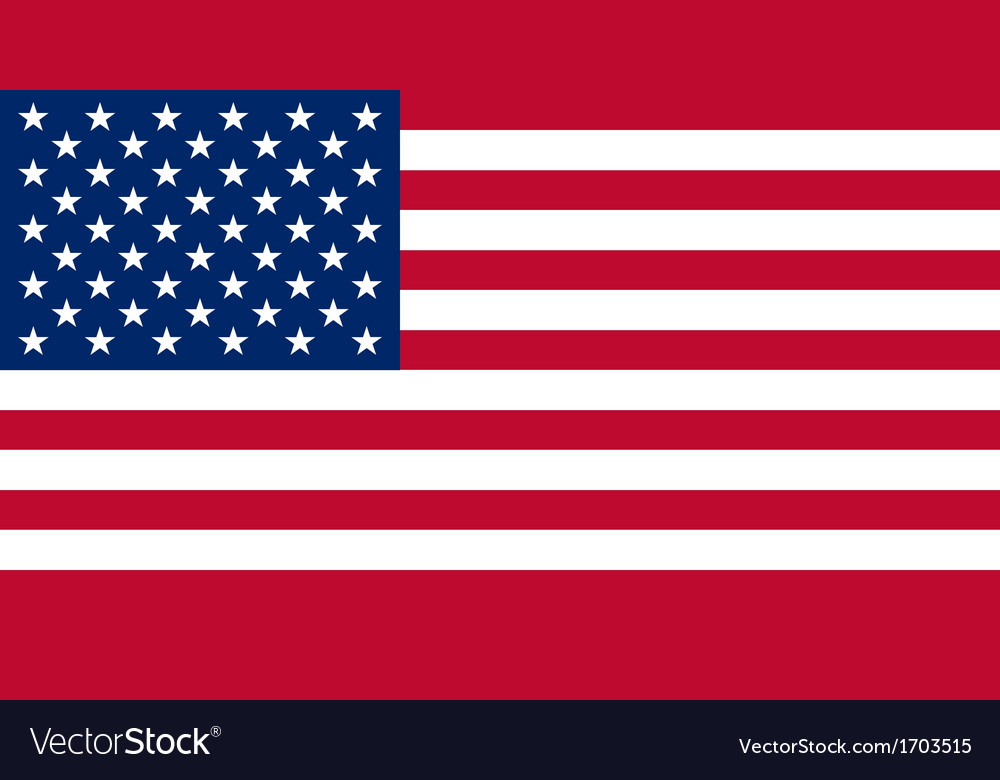 American flag with real colours and proportion vector