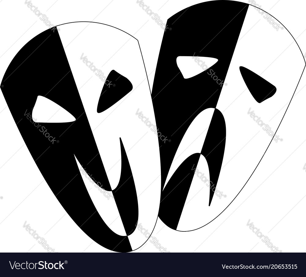 Black and white stage masks