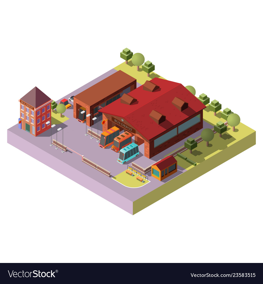 Bus depot building exterior isometric icon