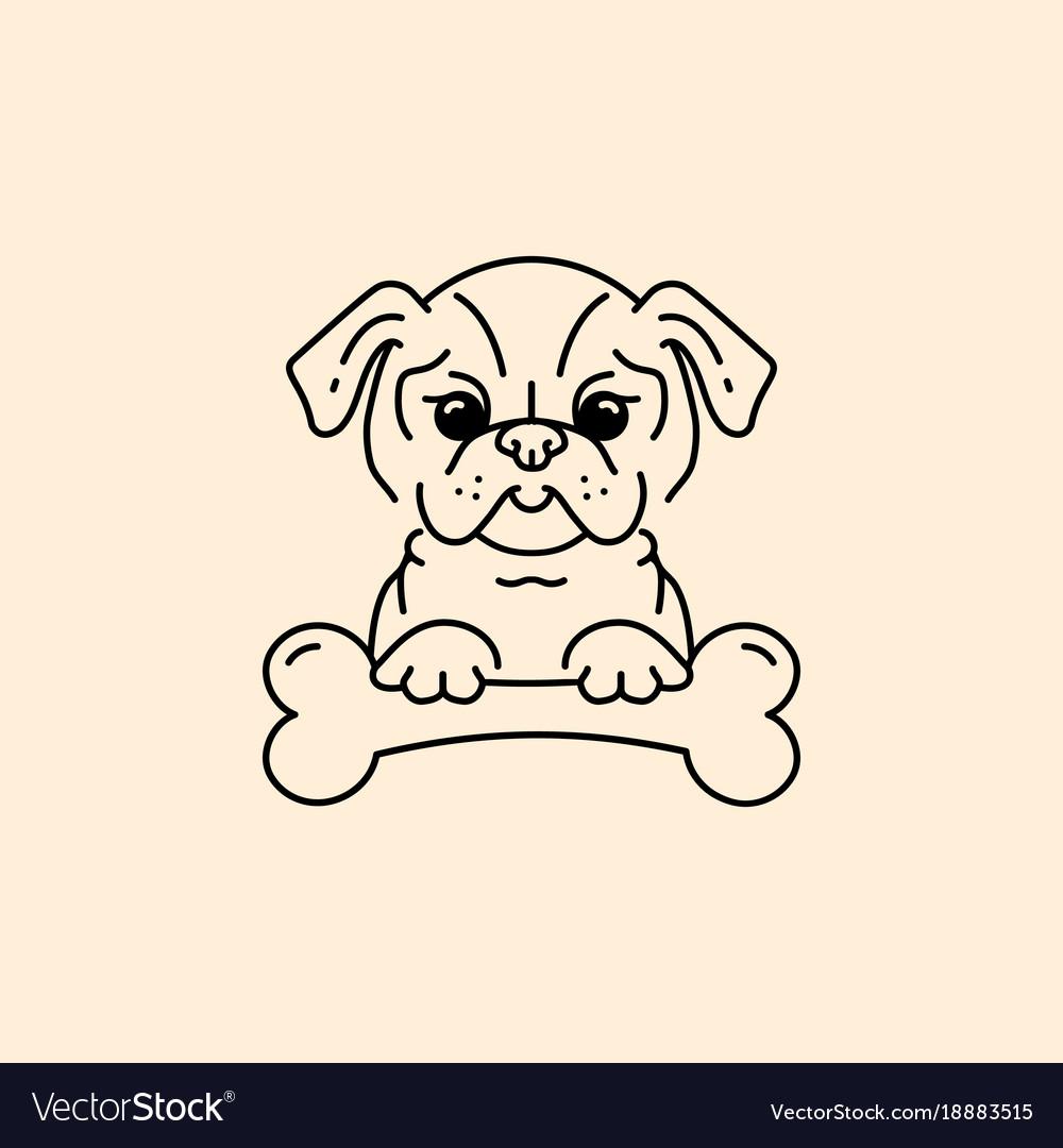 Cartoon pug pug-dog with a bone bulldog