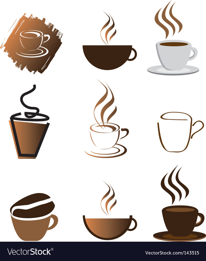Coffee icons silhouette brown Royalty Free Vector Image