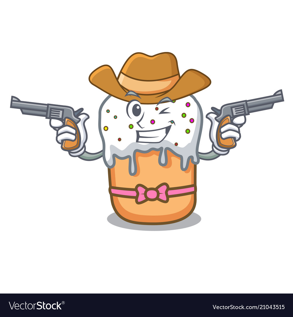 Cowboy Easter Cake Character Cartoon Vector Image