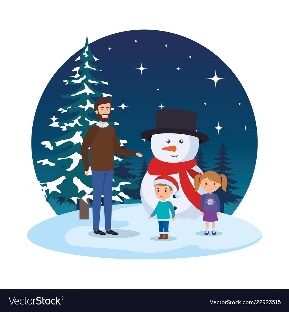 Father and kids with christmas clothes in