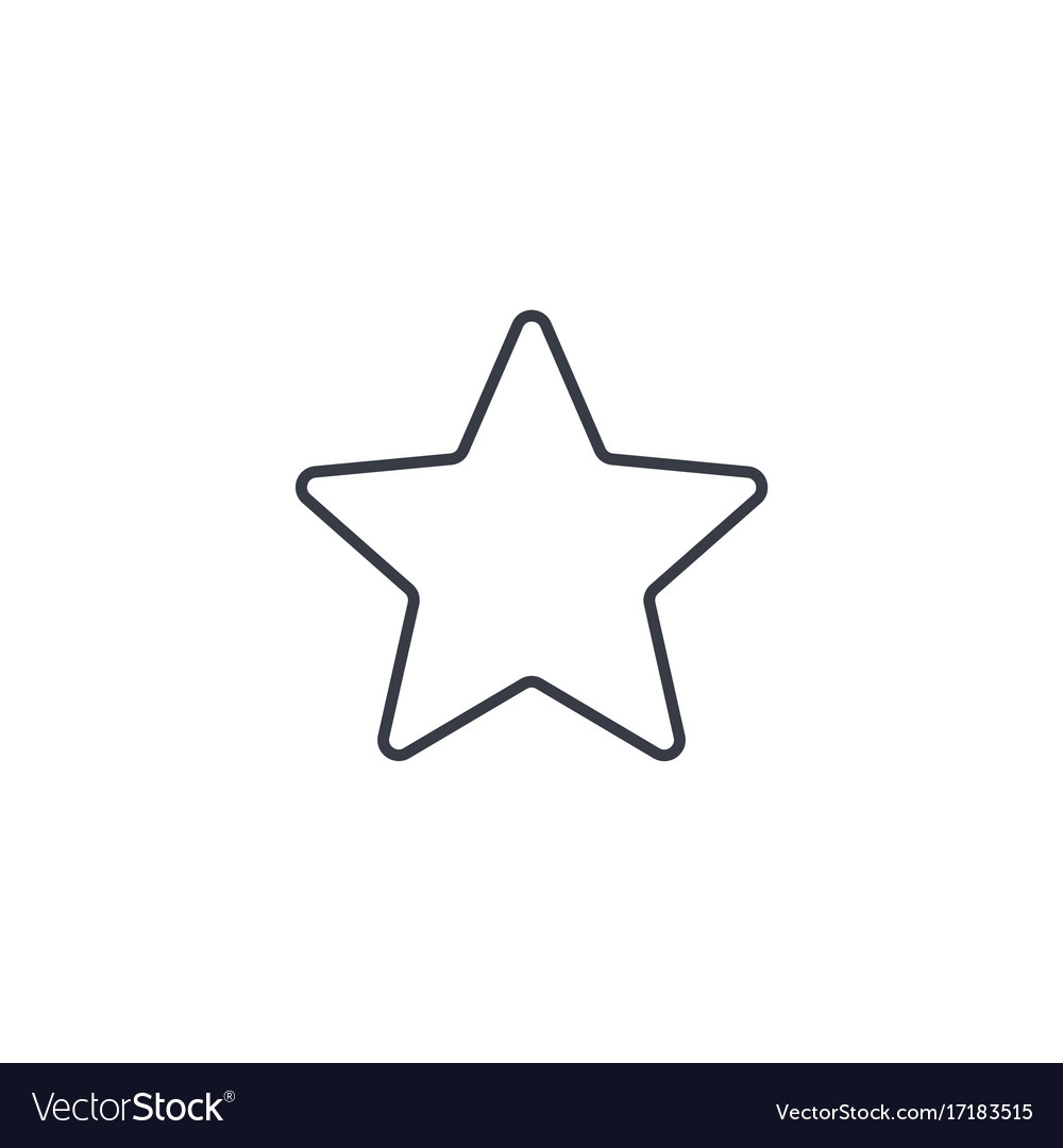 Five-pointed star bookmark thin line icon linear