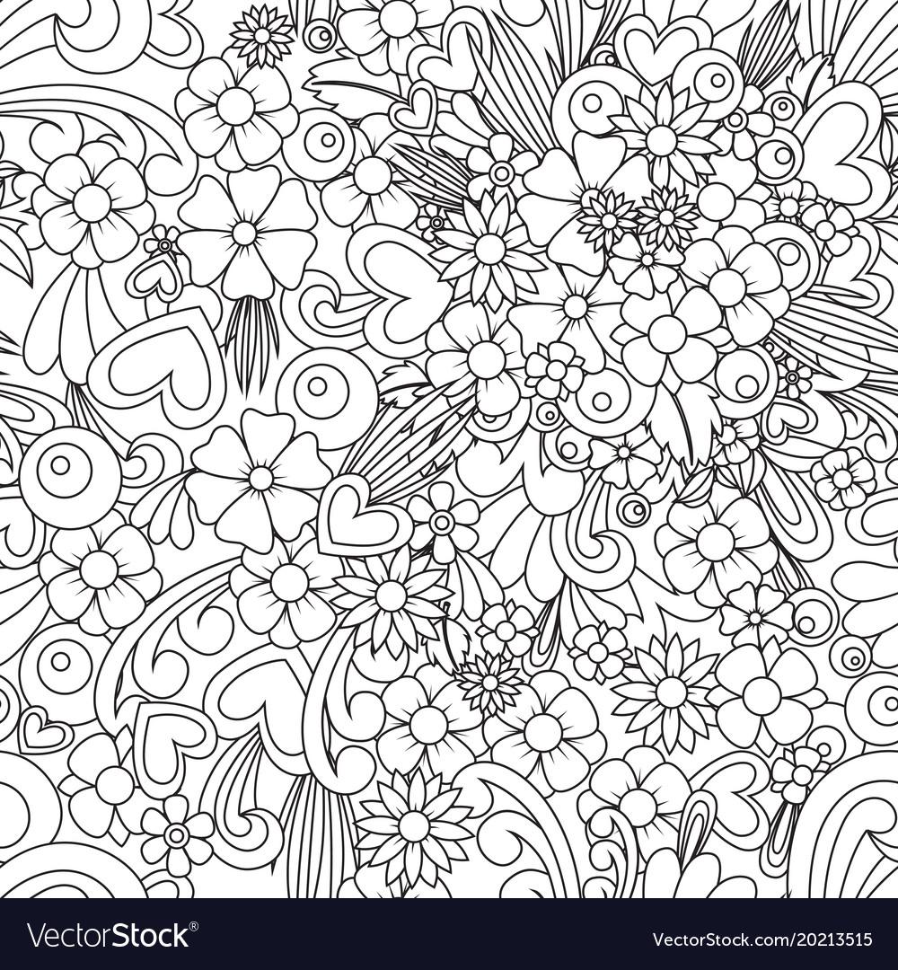 Flower Wallpaper Zentangle Art Seamless Pattern Vector Image