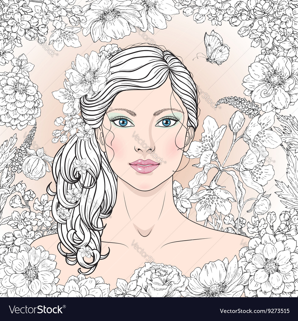 Girl with flowers outline