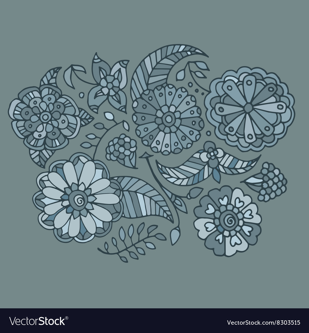 Hand drawn colored floral pattern