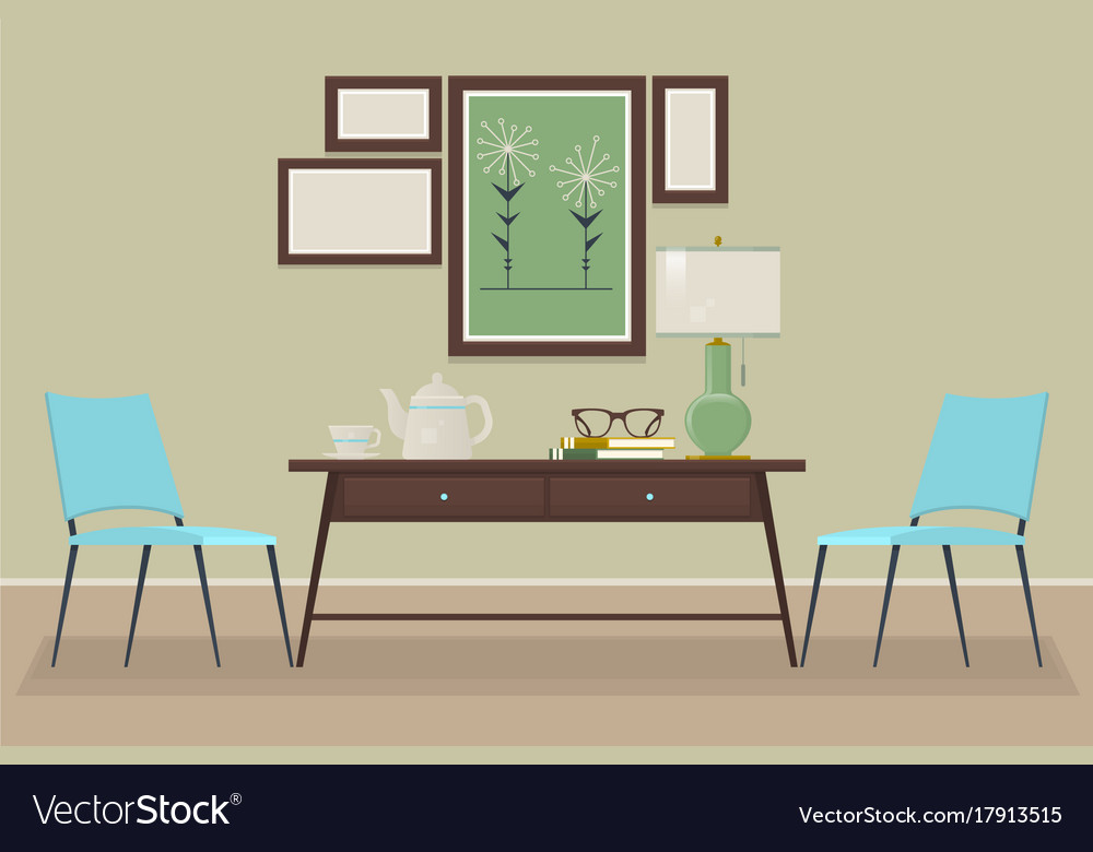 House home interior design chair table lamp vector image