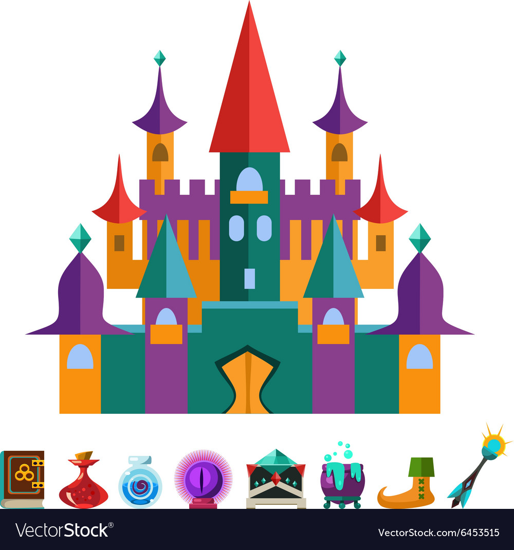 Medieval Fortress and Elements for Games vector image