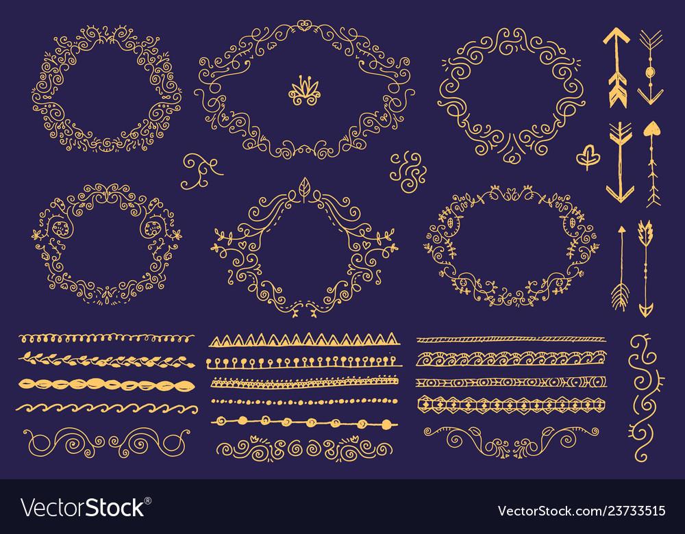 Set hand drawn floral frames dividers