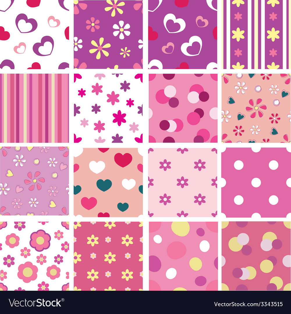 Set of kid seamless patterns