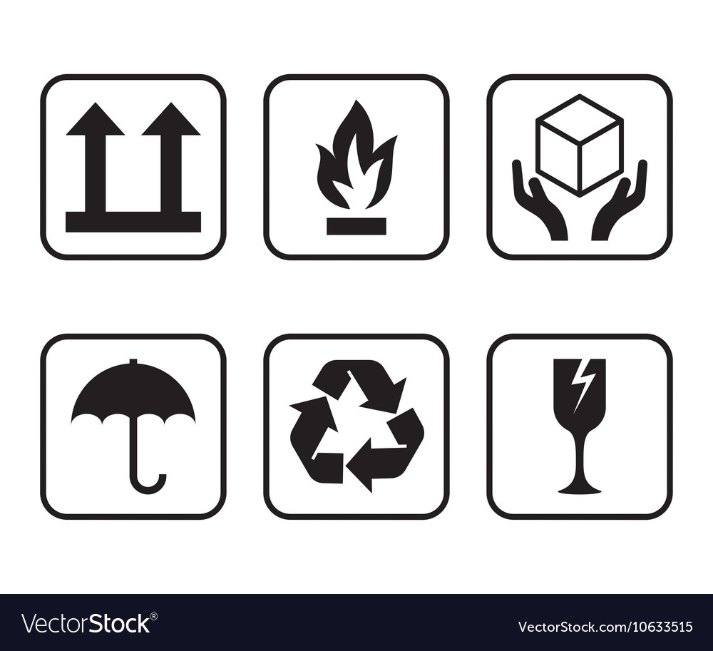 Set Of Symbols For Cardboard Boxes Royalty Free Vector Image