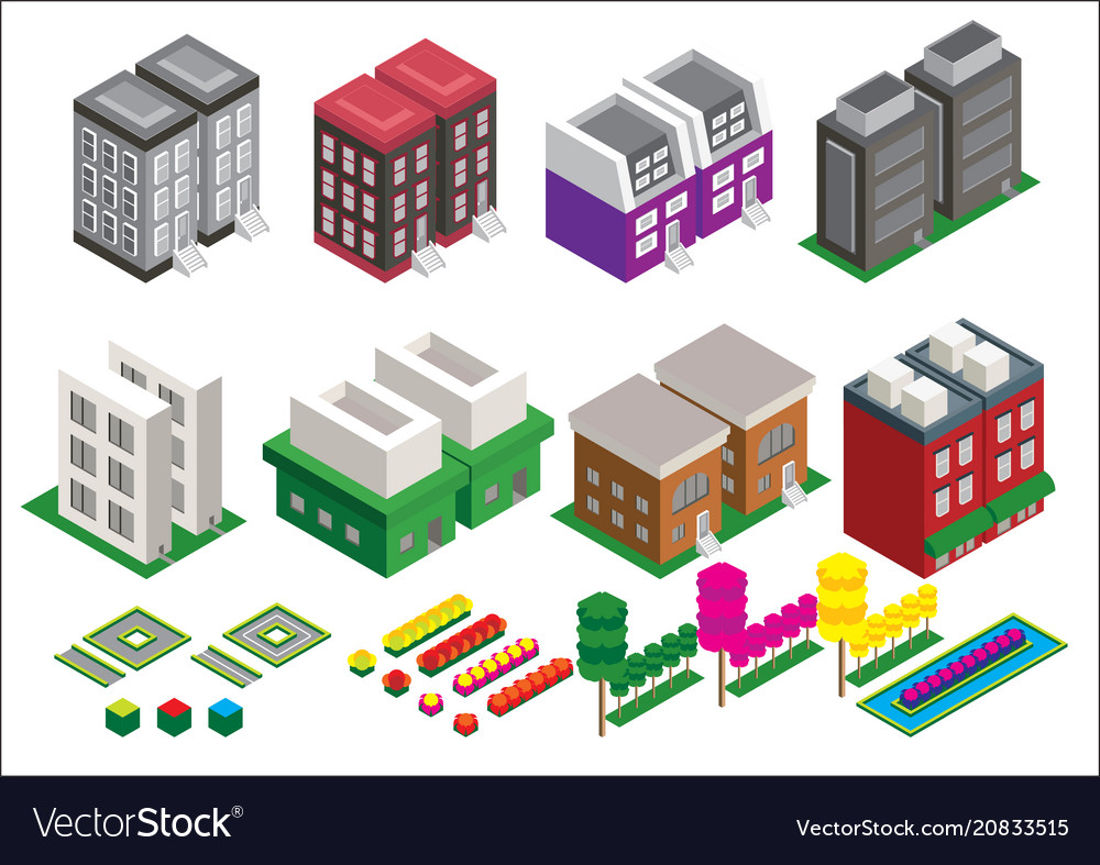 Set of the isometric elements skyscrapers park