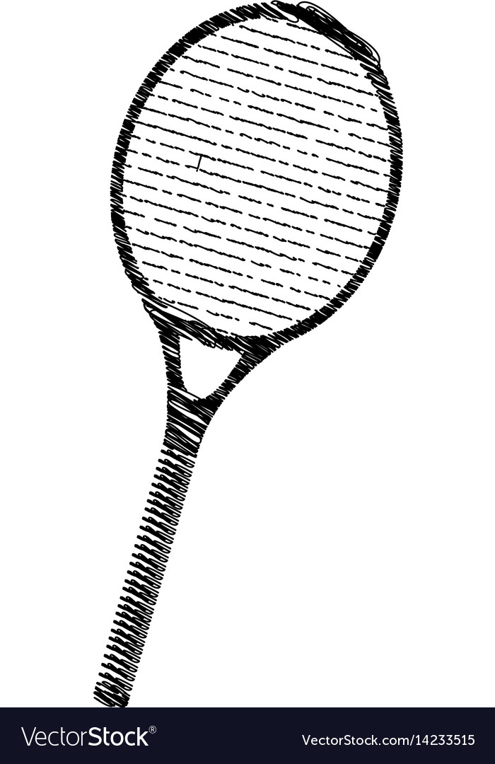 Silhouette Drawing Tennis Racket Element Sport Vector Image
