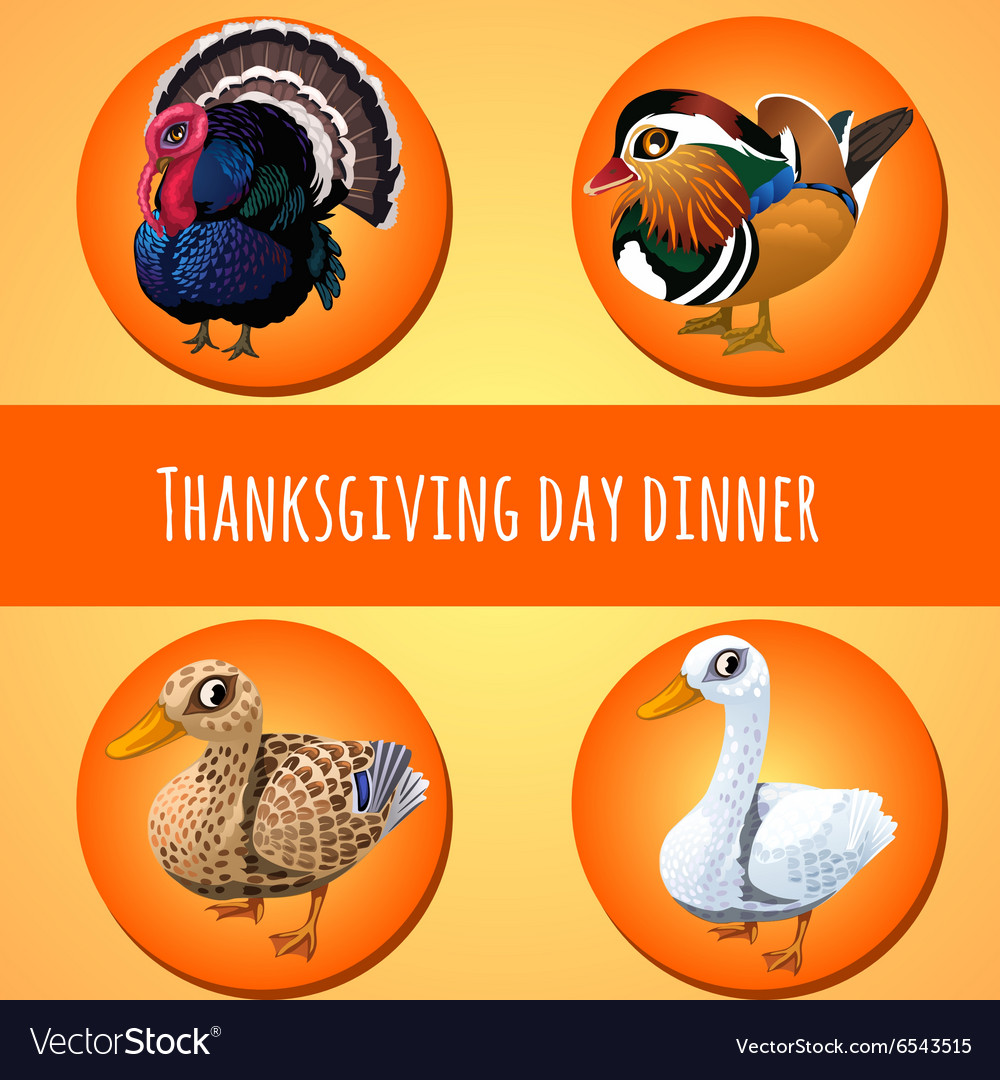 Thanksgiving day dinner four icons