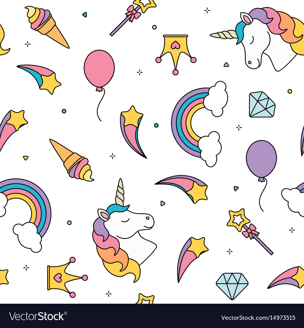 Unicorn and rainbow seamless pattern isolated on