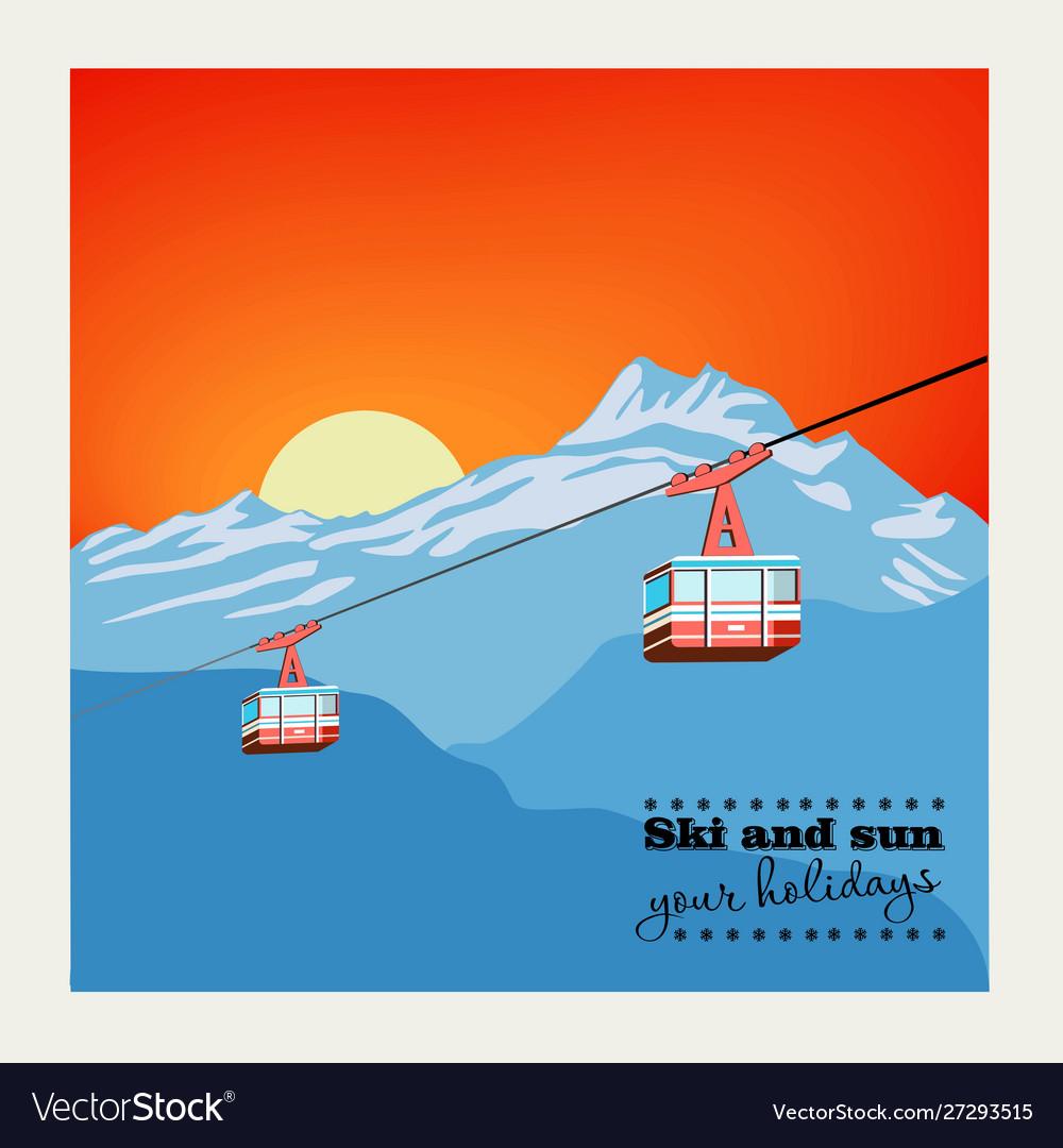 Vintage winter background poster red ski lift