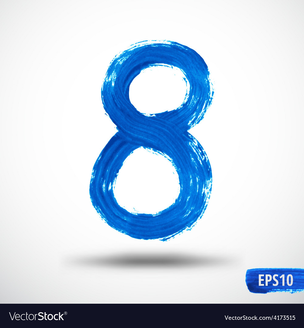 Watercolor Eight Number Grunge Background