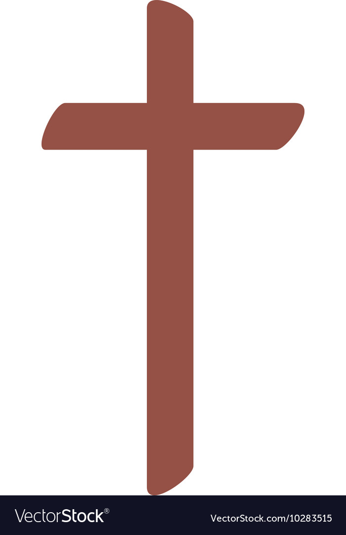Wooden cross isolated icon