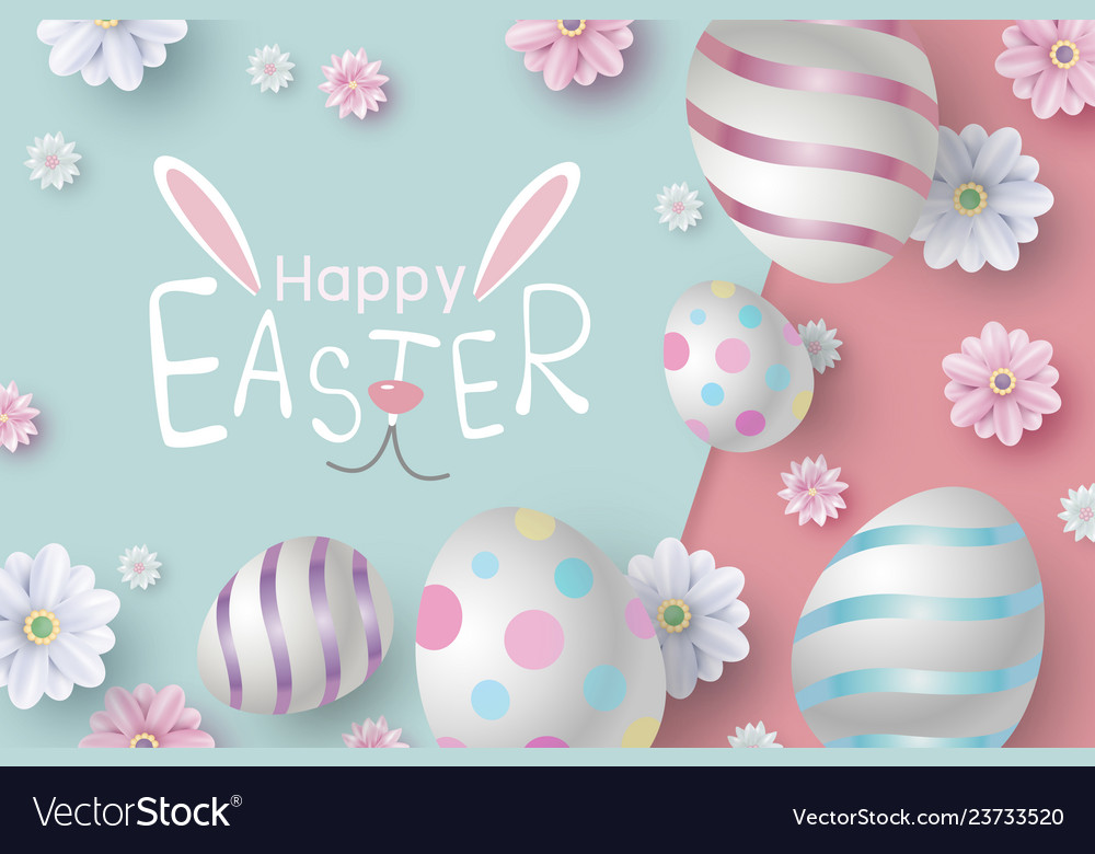 Easter card design of eggs and flowers