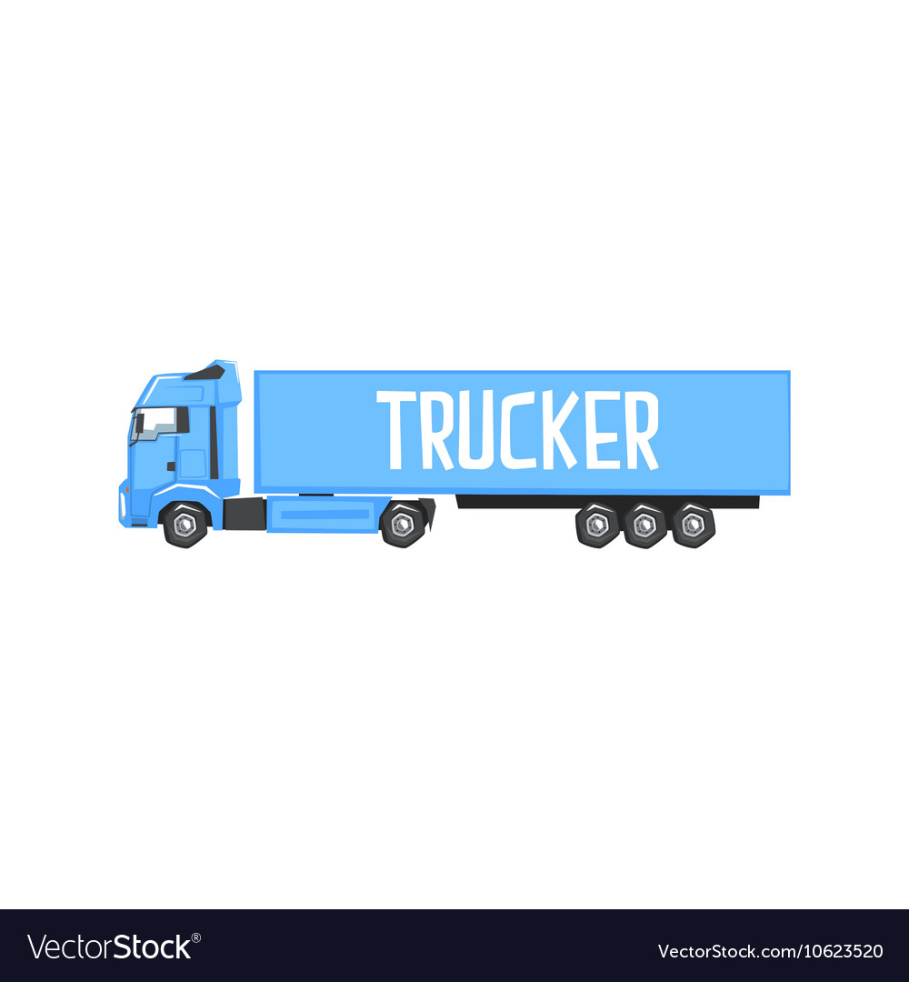 Large blue long-distance truck with sign trucker