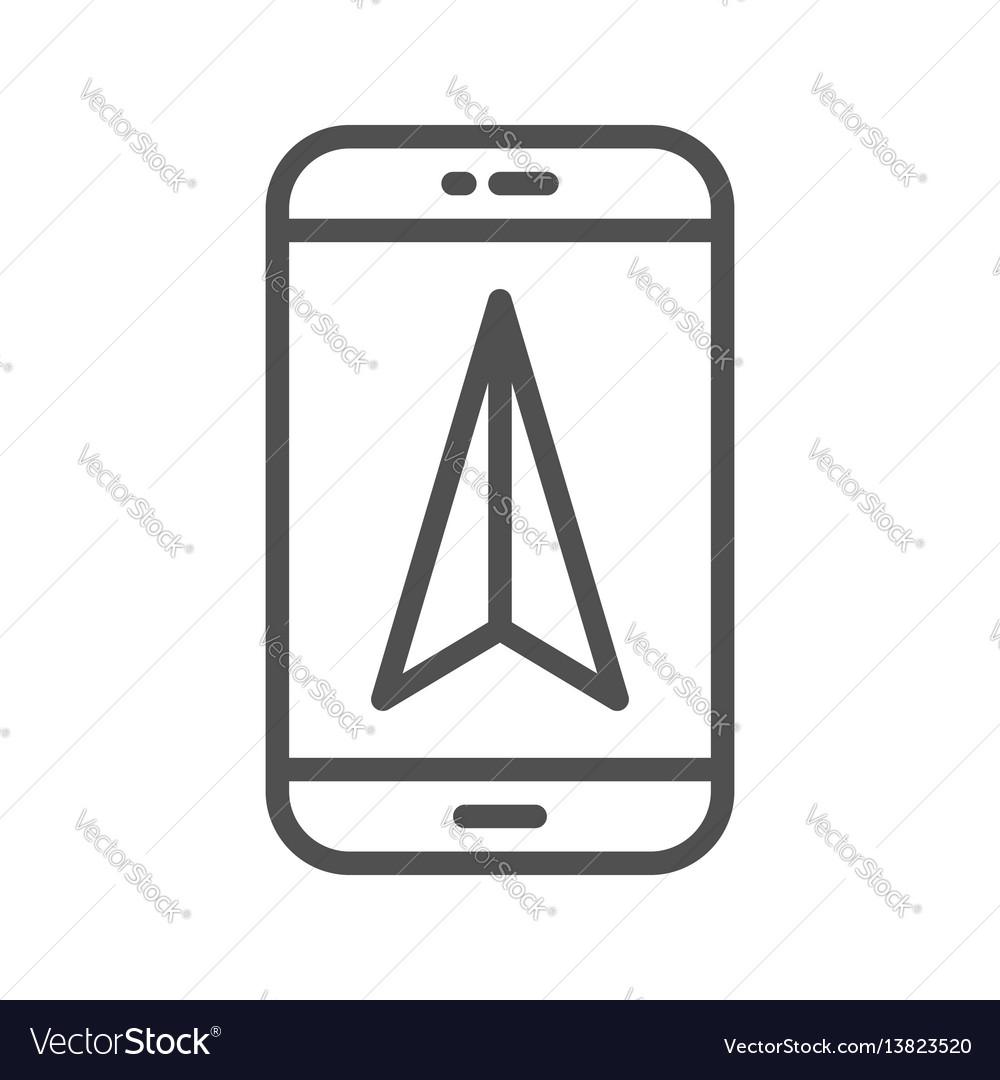 Mobile gps navigation line icon