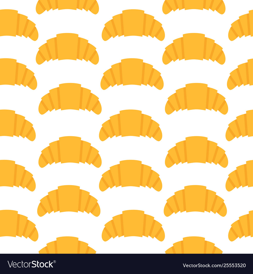 Seamless pattern with croissant in flat style