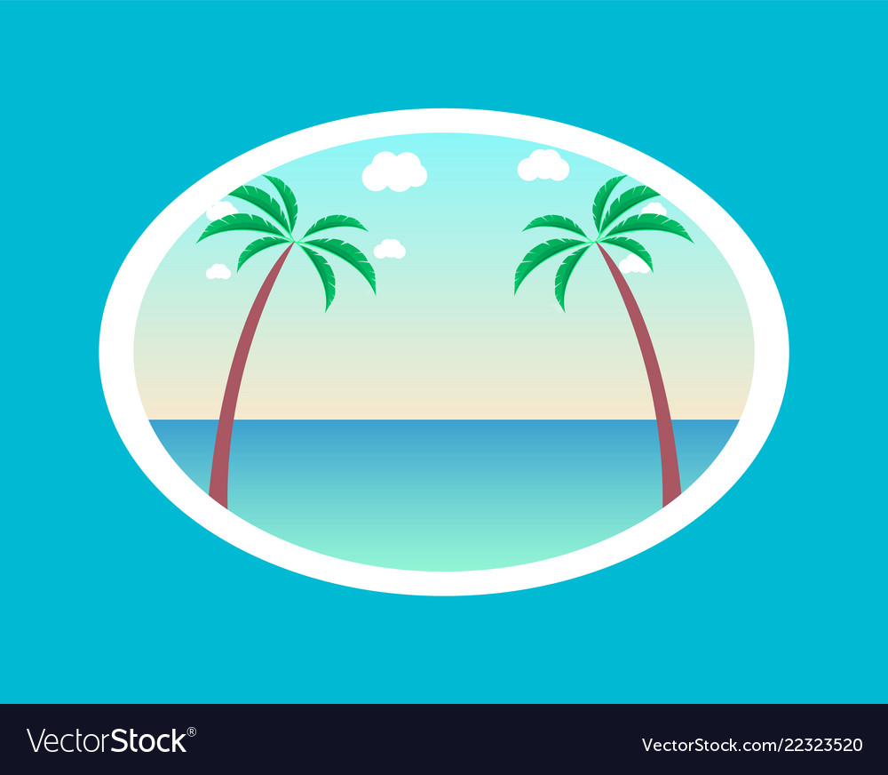 Summer paradise poster with palm trees background