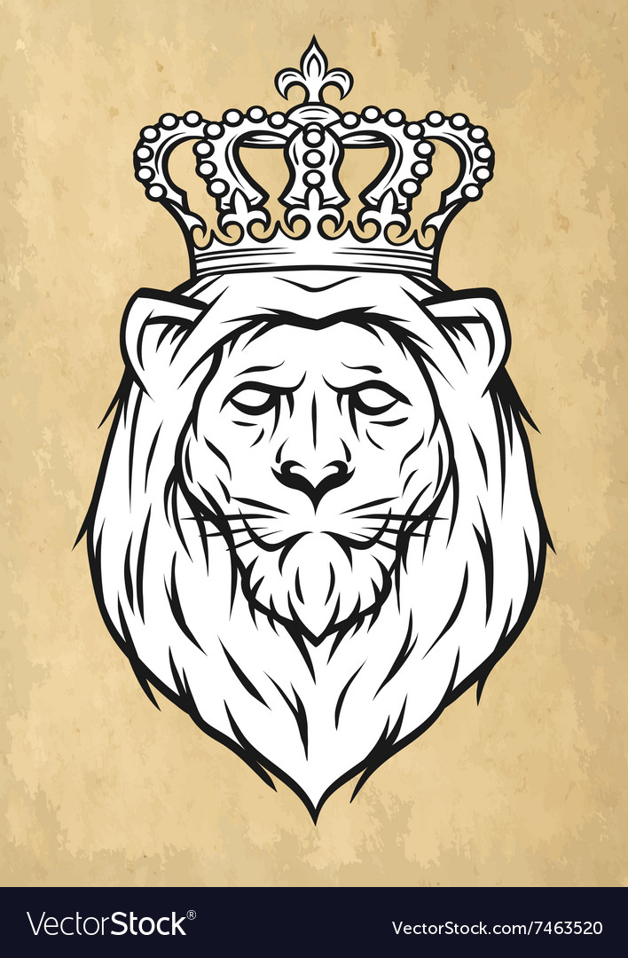 The head of a lion with a crown vector image