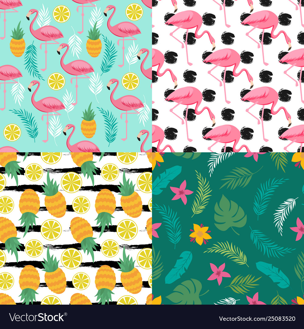 Tropical seamless pattern collection with exotic