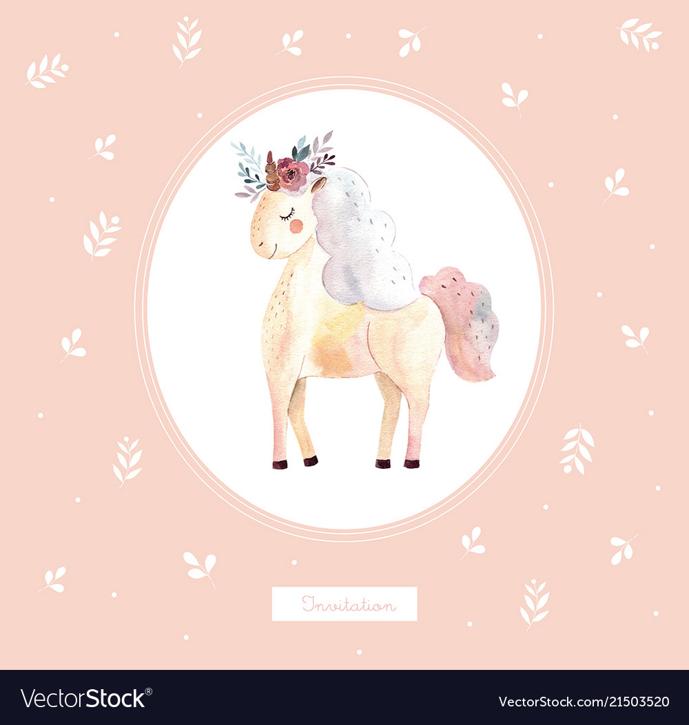 Vintage with cute unicorn