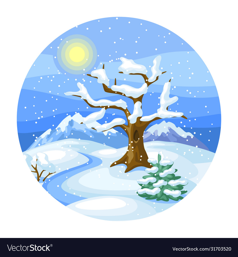 Winter landscape with trees mountains and hills