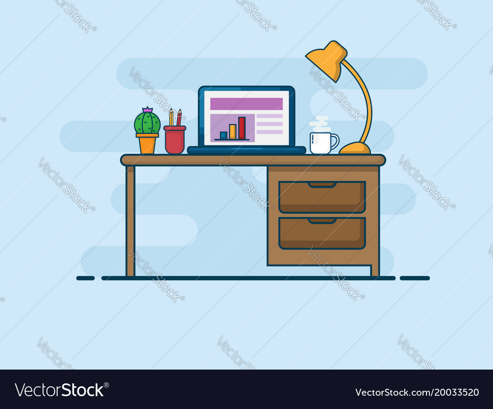 work desk work space flat line style royalty free vector