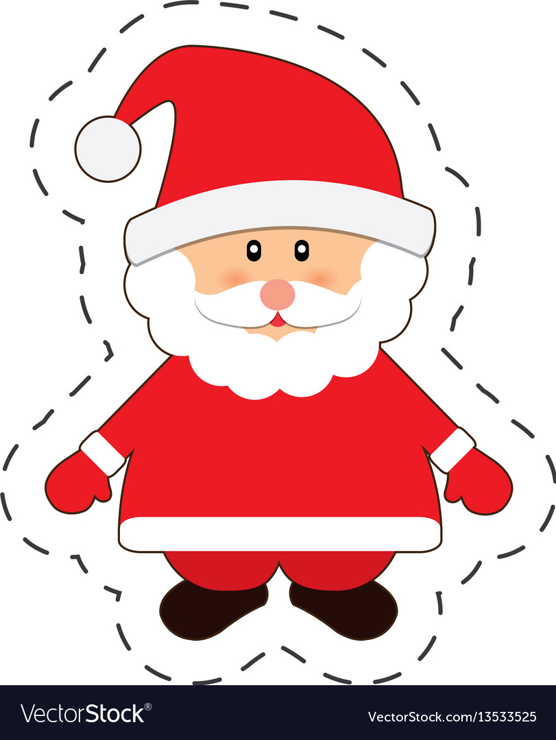 Santa claus merry christmas cut line