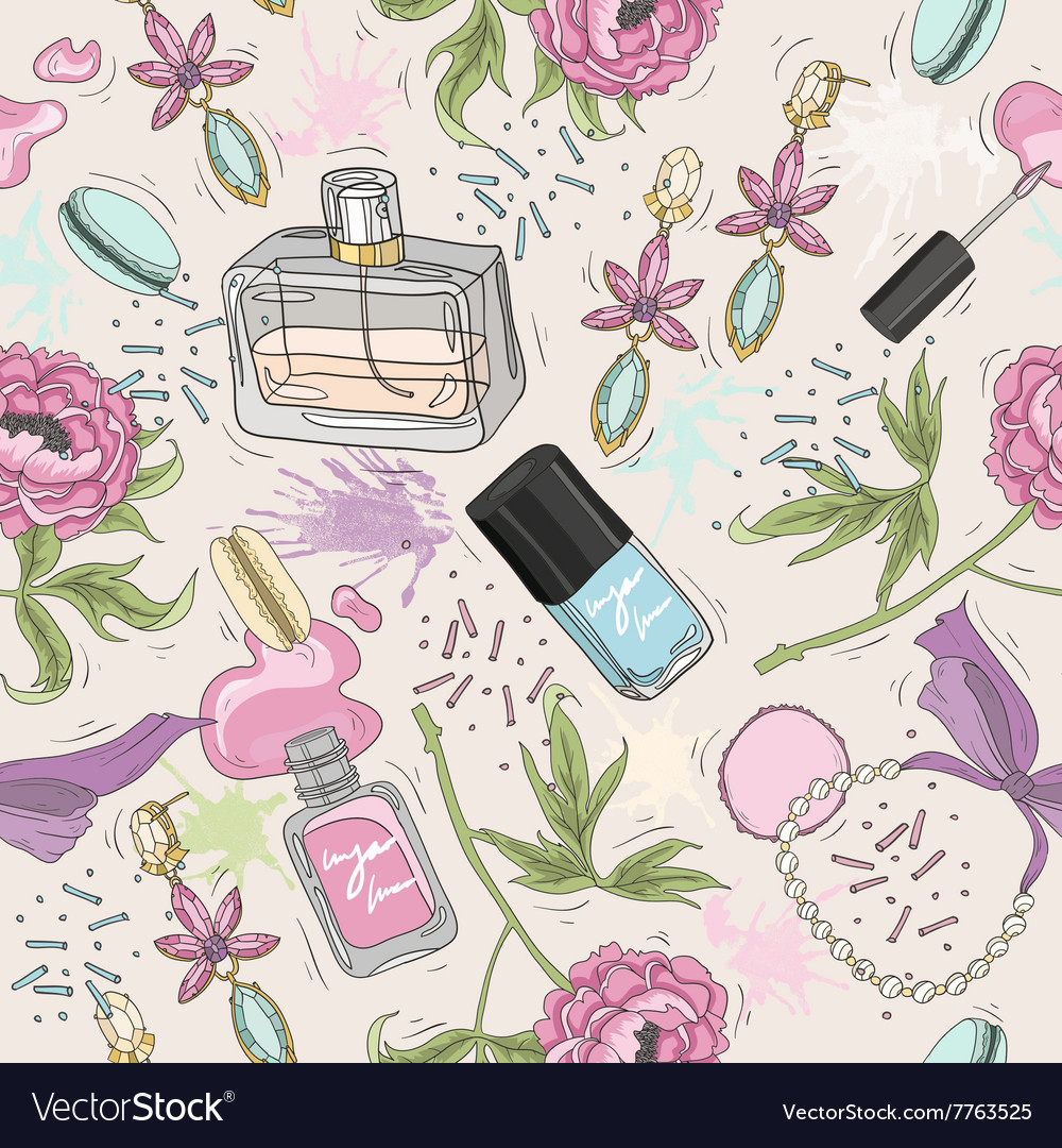 Seamless beauty pattern with make up perfume vector image