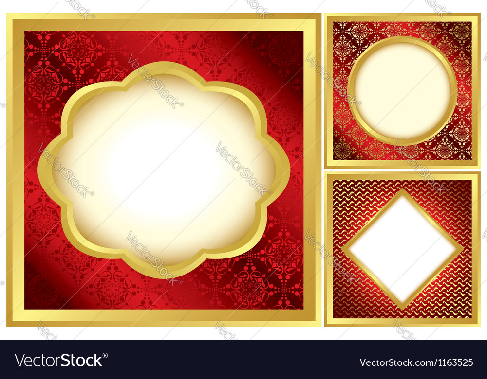 Set of red and golden decorative frames Royalty Free Vector