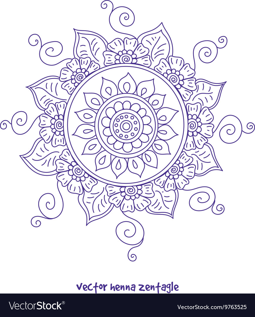 Tattoo Henna Mandala Royalty Free Vector Image