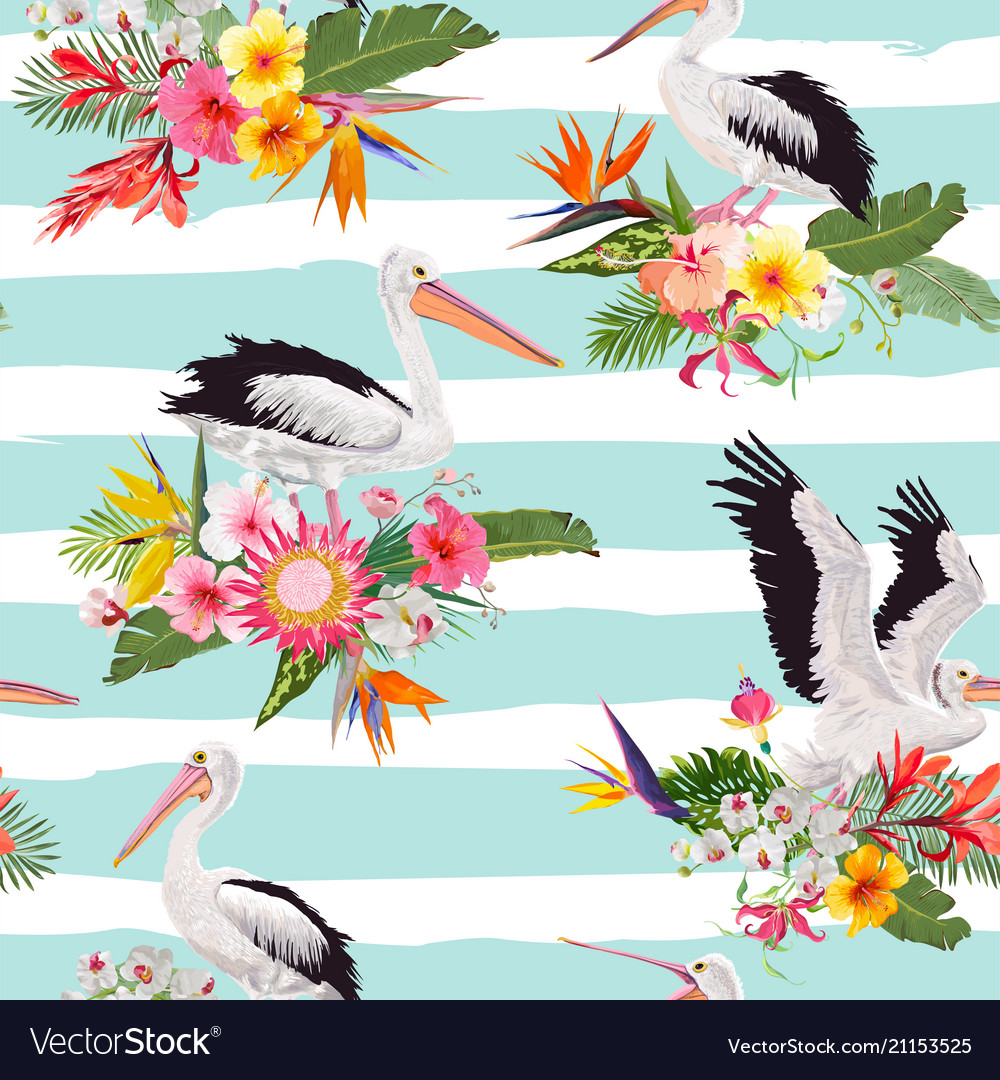 Tropical nature seamless pattern with pelicans
