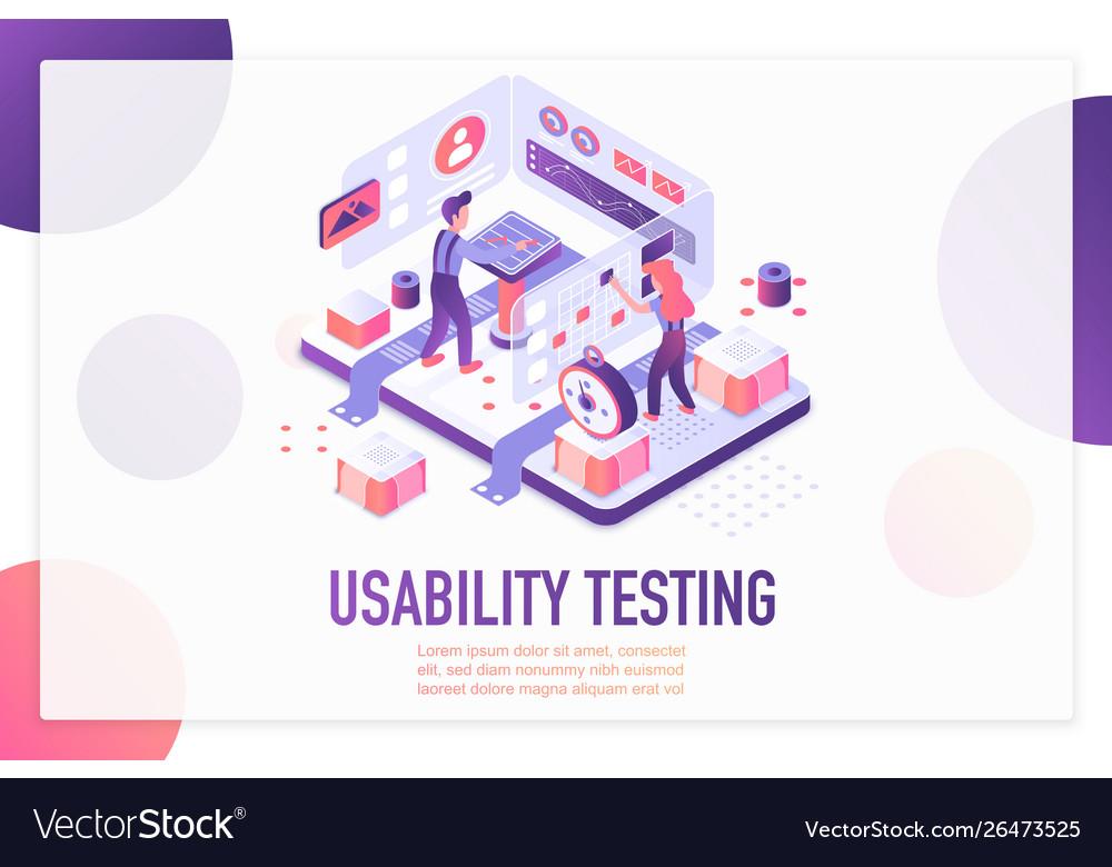 Usability testing isometric landing page