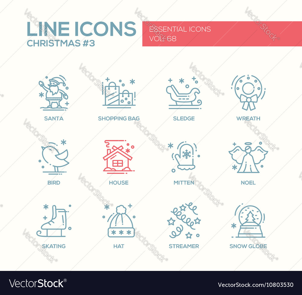 Christmas and New Year - simple line design icons