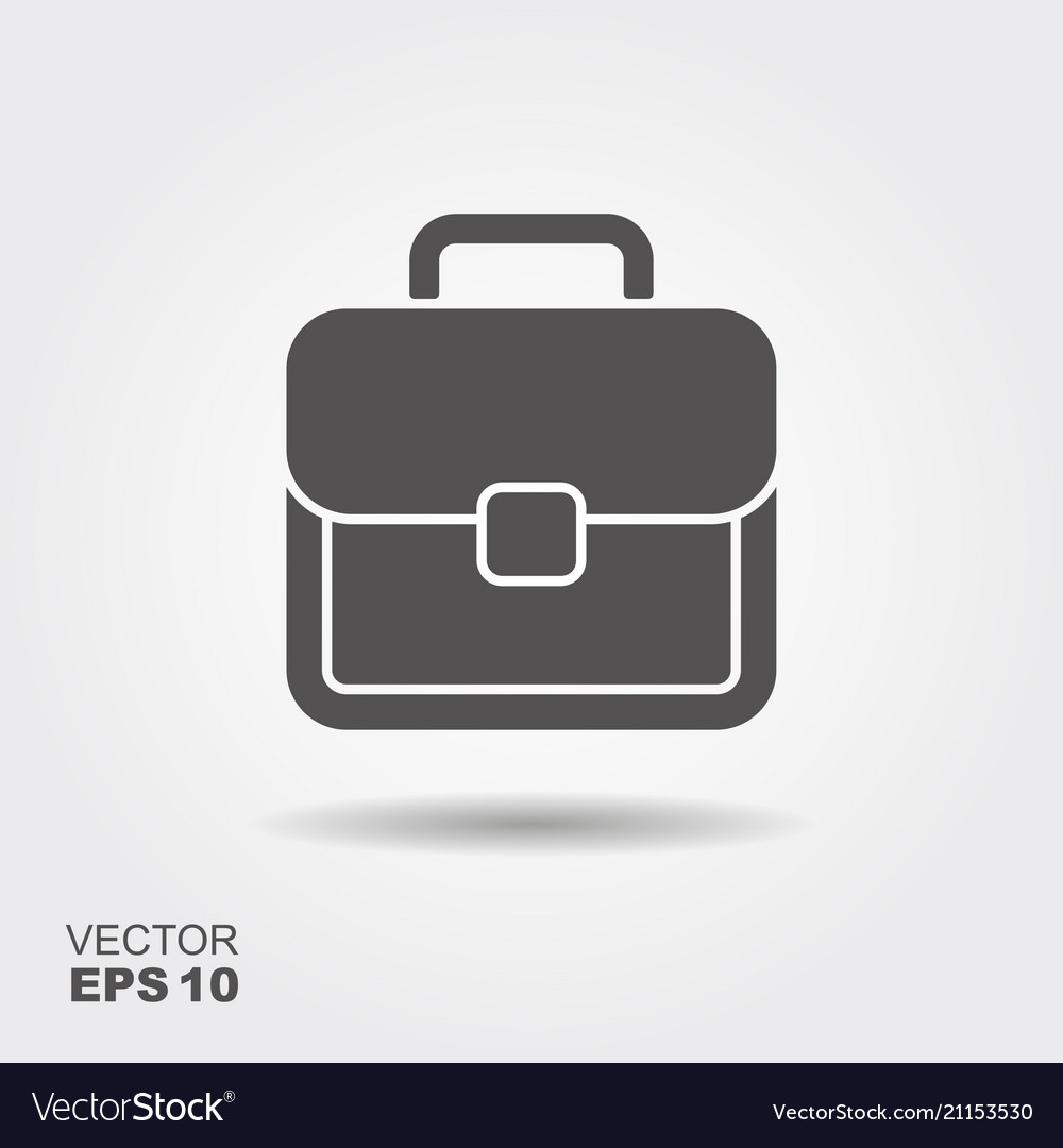 Flat icon of briefcase with shadow logo