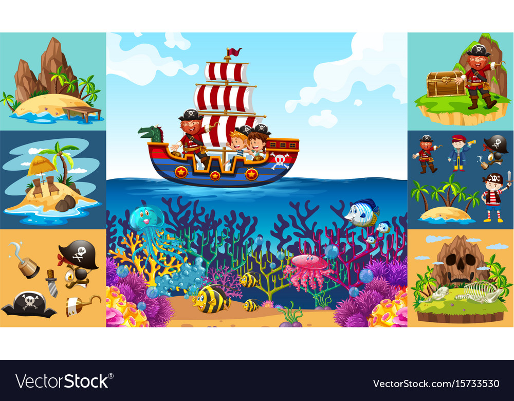 Ocean scenes with pirate on ship vector image