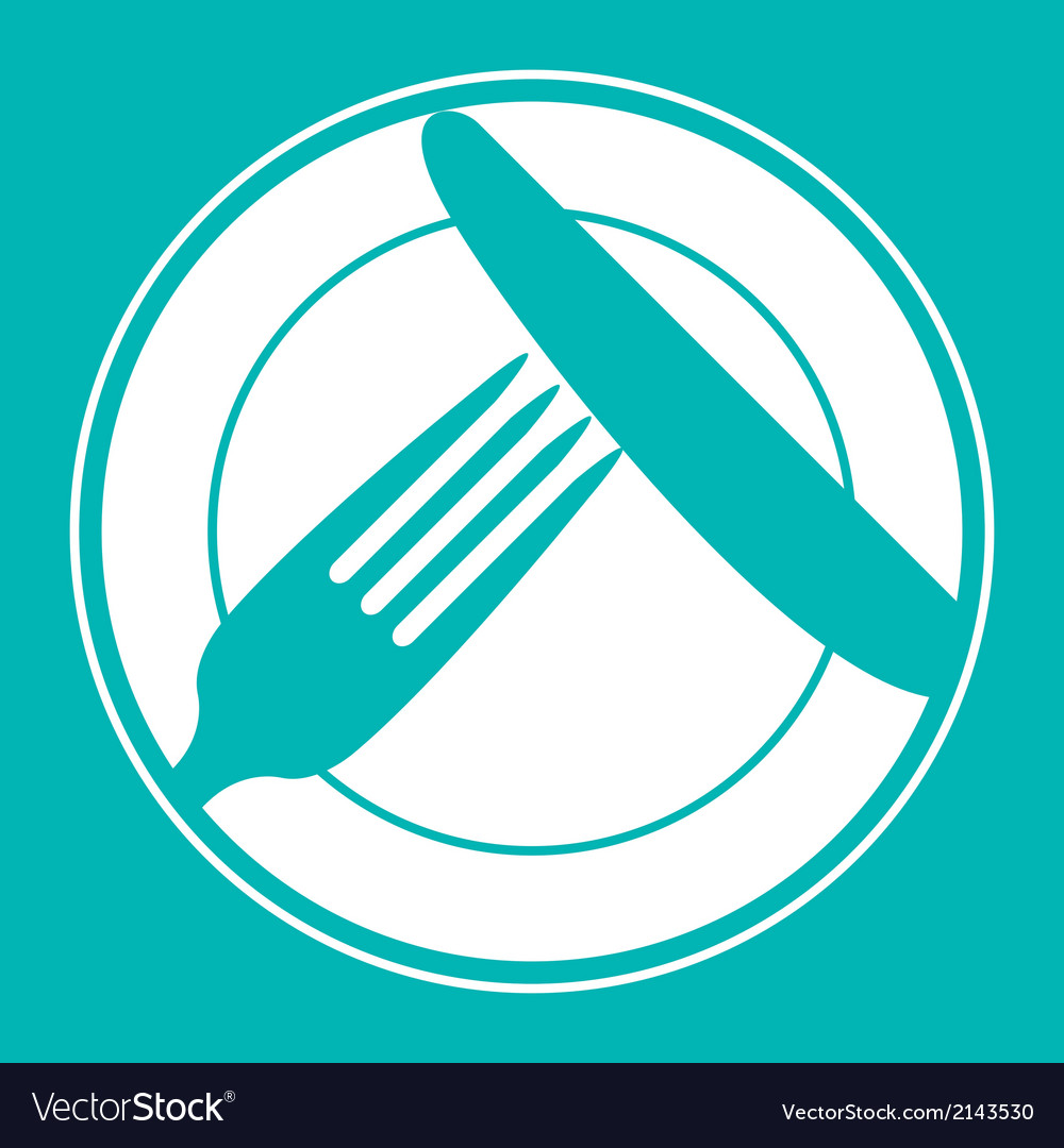 Plate knife and fork Restaurant menu design vector image