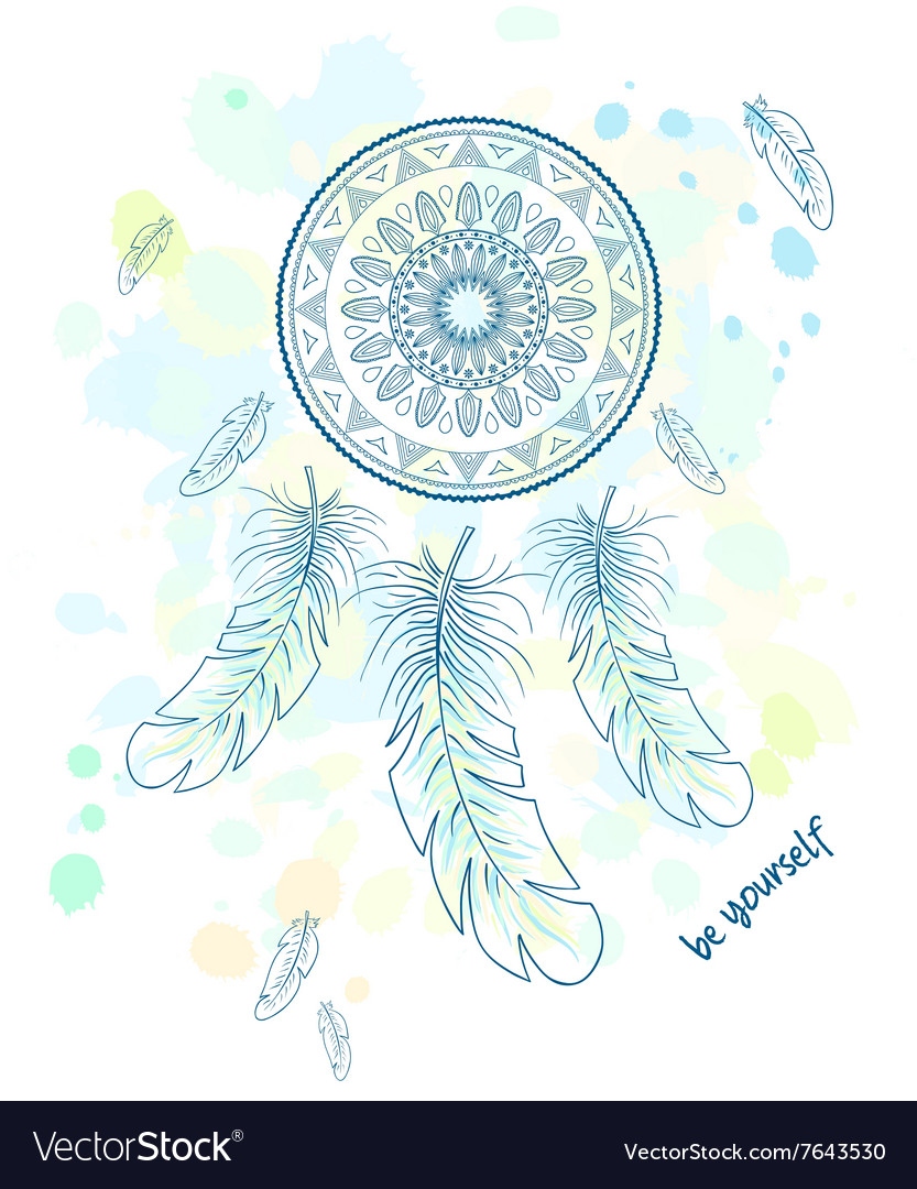 photograph about Dream Catcher Printable named Printable hand drawn with aspiration catcher with