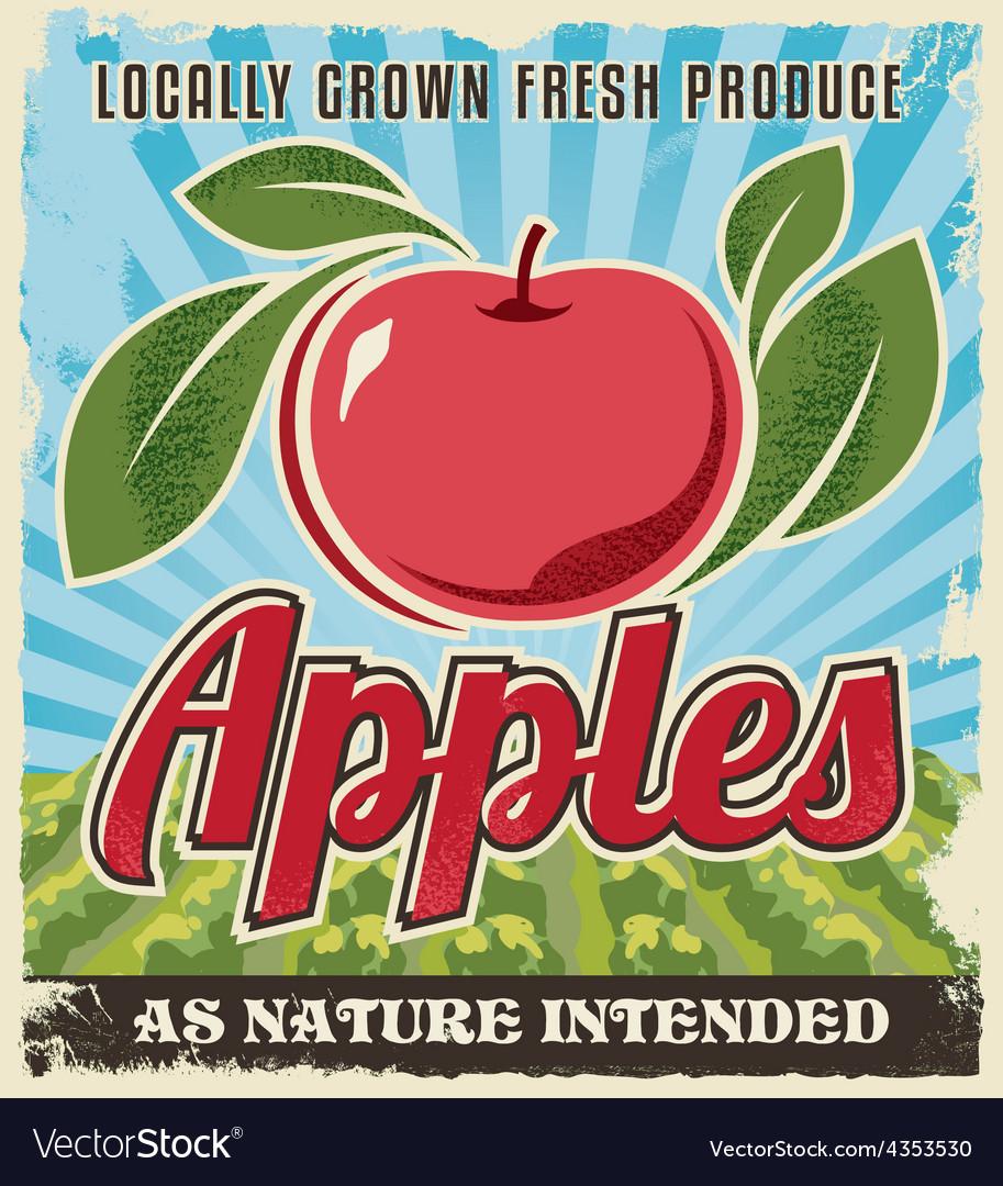 Retro vintage apple crate label vector image