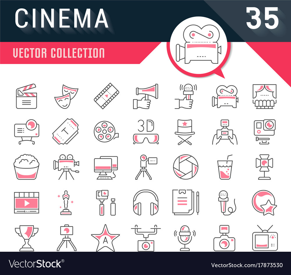 Set flat line icons cinema and movies