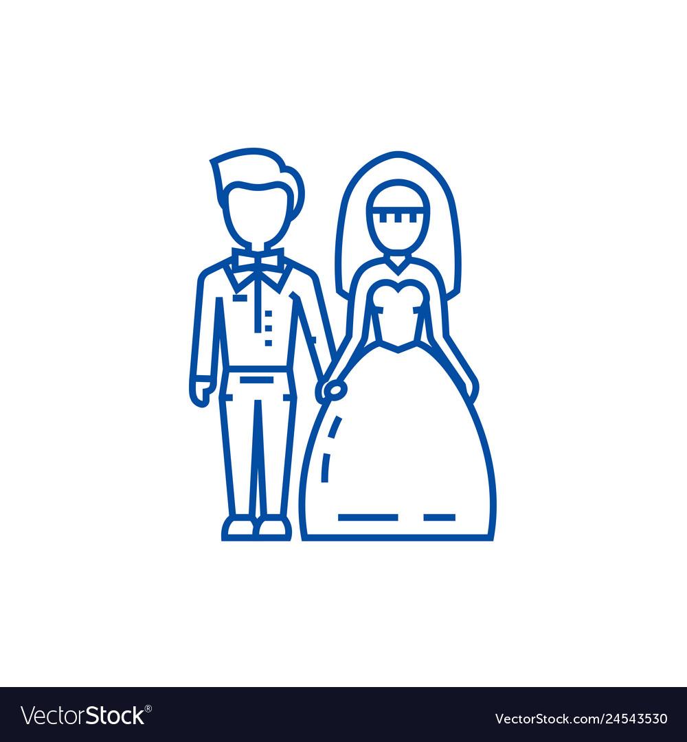 Wedding couplebride and groom line icon concept