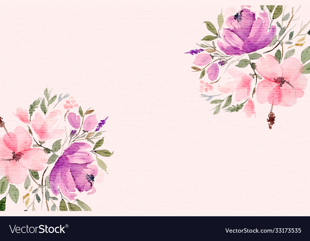 Beautiful watercolor flowers background with text