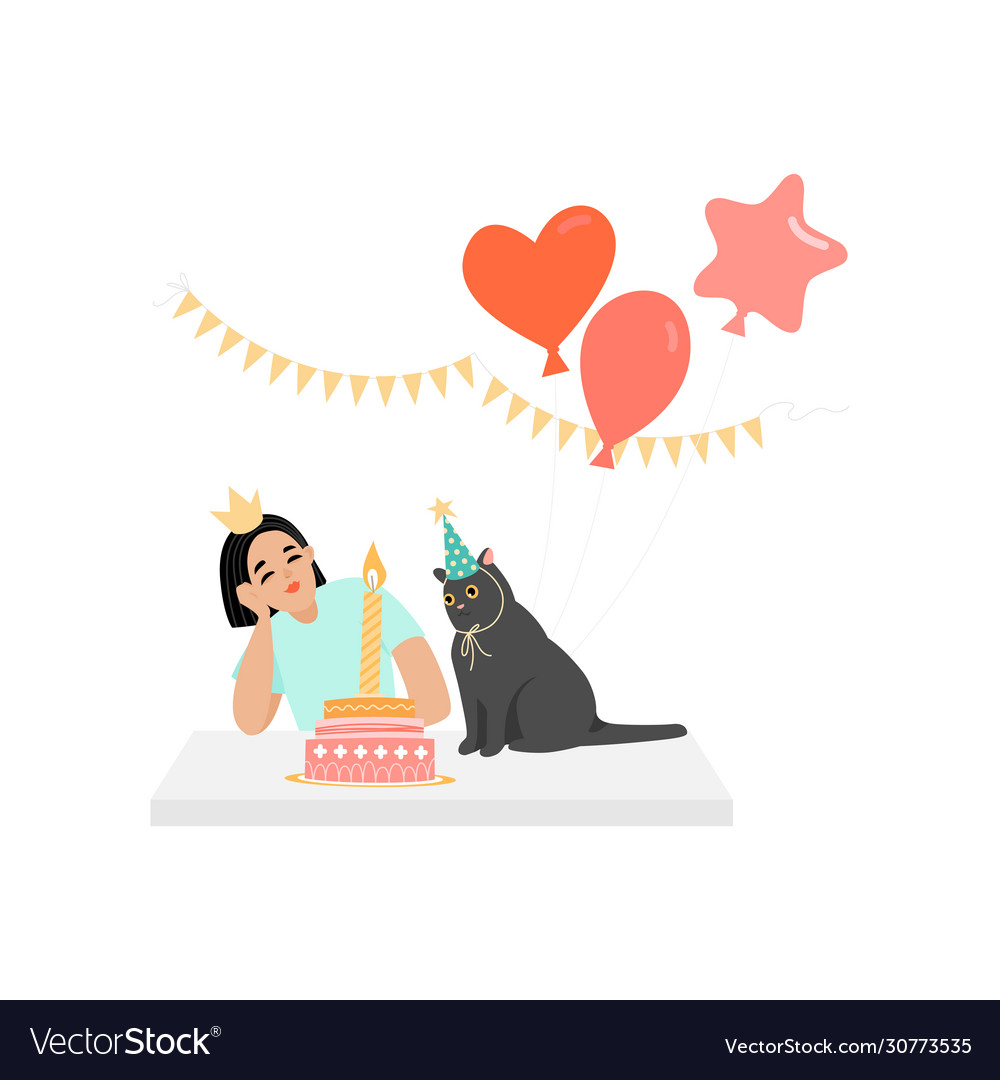 Birthday greeting banner with girl and cat