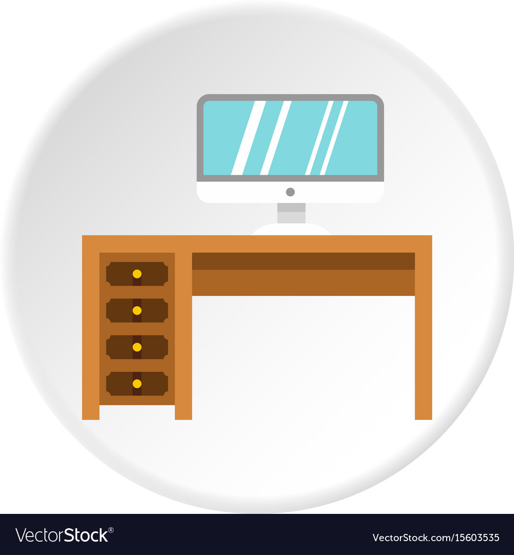 Computer Desk Icon Circle